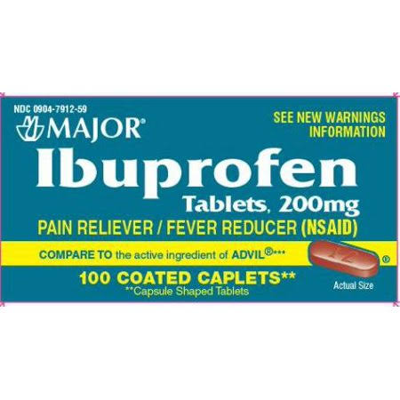 Major Ibuprofen Pain Reliever - 200mg, 50 Coated Caplets