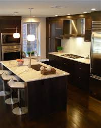 Contemporary Kitchens With Dark Cabinets Kitchen Eat In Floor Range Hood