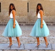 2017 fashion short skirts for women knee length tulle blue tutu