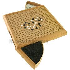 Go Game Board With Two Drawers And Pieces In Light Wood 3995 NexusGadgets