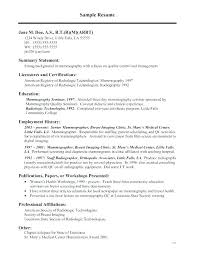 Radiology Technician Resume Rad Tech Samples Technologist Examples Radiography Cover Letter Images