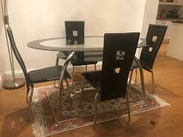PRICE REDUCED - Dining Table (4 Chairs) & Coffee Table - Tempered Glass |  In Worcester Park, London | Gumtree Burke Inc Mid Century Modern Saarinen Style Tulip Round Table 4 Chairs Ding Set Donatella 160cm With Parker Set Extendable Walnut Stained Table Bench And Chairs Natura Ding Tablebench4 Nat0088 Molly 48 Upholstered Side Dning Room Versilia Extending Grey Barker Stonehouse 5pcs Glass Metal Kitchen Breakfast Fniture Julian Bowen Richmond Midnight Blue Chrome Lucite 70s Hollis Jones Era Costway 5 Piece And Home Room