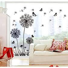 ufengke schwarze löwenzahn und schmetterlinge fliegen im wind wandsticker wohnzimmer schlafzimmer entfernbare wandtattoos wandbilder
