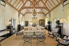 living room cathedral ceiling chandelier floor l table l