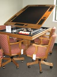 Innovative Convertible Game Pool Table Furniture Into Dining And Wooden Swivel Chairs