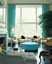Living Room Decorating Ideas Teal Curtains Ottoman Yellow Armchairs