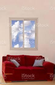 blick auf das moderne wohnzimmer mit rote stockfoto und mehr bilder architektur