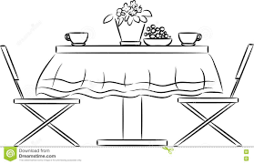 Sketch Of Kitchen Table And Chairs Stock Vector Image 79215955 With Size 1300 X 840