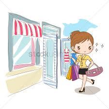 Girl Entering A Clothes Shop Vector Graphic
