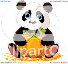 Panda Pumpkin Designs by Clipart Of A Cute Halloween Panda Hugging A Pumpkin Royalty Free