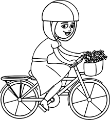 Girl Riding Pink Bicycle With Basket Coloring Page