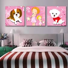3 Panel Painting Picture Cute Dog Child Bedroom Wall Art Decoracion For Children Girls Baby Room