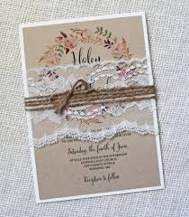 Rustic Wedding Invitation Lace Vintage Shabby Chic Kraft