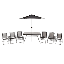 Bahama Metal 6 Seater Dining Table Chairs