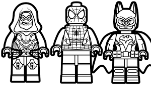 Lego Spiderman And Batgirl Green Arrow Coloring Book Pages Kids Fun Art
