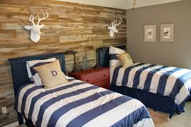 M Outstanding Little Boys Bedroom Design With Black Wooden Twin Bed Frames Fitted Blue Striped White Fabric Bedding Set On The Beds And Brown
