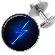 Cufflinks Blue Lightning Bolt Handmade Cuff Links For Dads