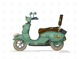 Cartoon Style Drawing Of A Retro Motor Scooter Royalty Free Vector Clip Art