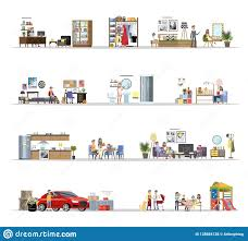 100 Living In A Garage Apartment House Building Terior With The Set Stock Vector