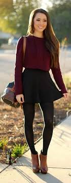 Fashin For Fall Amazing Sweater Blouse Dark Black Skirt With Pantyhose Brown Leather