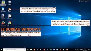 bureau windows comment est organisé le bureau windows coursinfo fr
