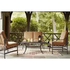 Hampton Bay Patio Furniture Cushion Covers by Hampton Bay Niles Park 4 Piece Patio Deep Seating Set With Cashew