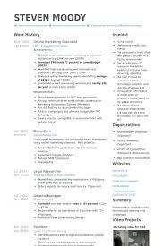Brilliant Ideas Of Internet Marketing Resume Templates Unique Online Specialist Samples Visualcv