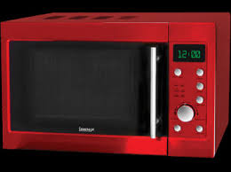 Having Stylish Look For Kitchin With Red Microwave