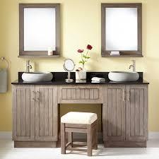 48 Inch Double Sink Vanity by Teak Double Vessel Sink Vanity With Makeup Area Gray Wash Bathroom