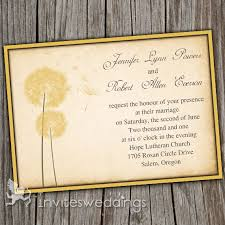 Romantic Rustic Yellow Dandelion Wedding Invitations IWI251