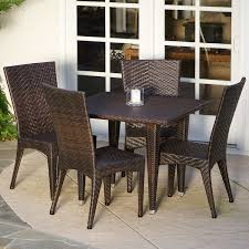 Furniture Patio San Diego Edward Five Piece Outdoor Dining Set Features Rectangle Wicker Rattan Table