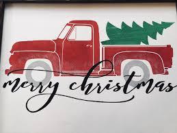 100 Sign Truck Red Merry Christmas Christmas Decor Christmas