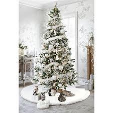 AerWo Faux Fur Christmas Tree Skirt 48 Inches
