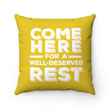 100 Ochre Home Come Here Hustler Yellow Square Pillow Case