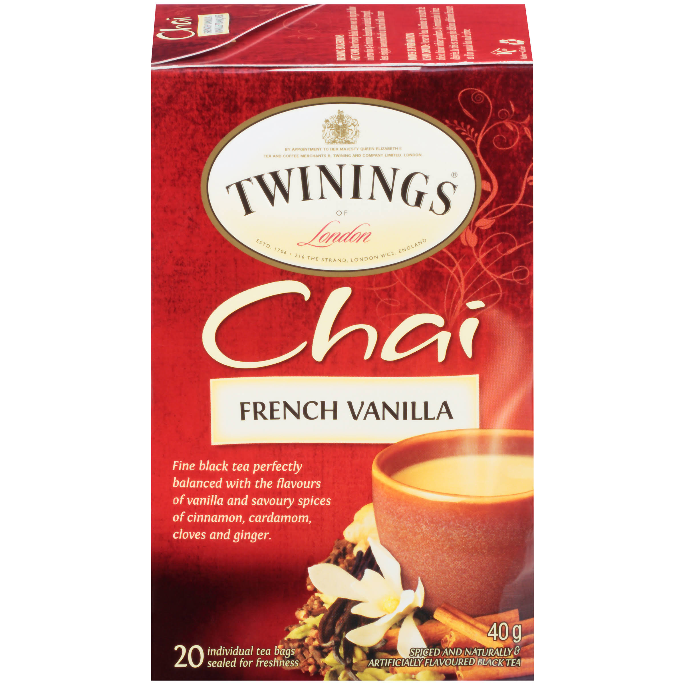 Twinings of London French Vanilla Chai 20 Ct Tea Bags 40g Box