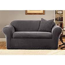 amazon com sure fit stretch metro 2 piece sofa slipcover gray