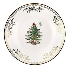 Spode Christmas Tree Gold Bread And Butter Plate Set Of 4