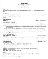 Undergraduate Student Resume Example