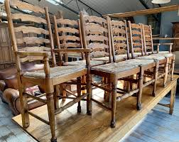 Antique Furniture — THE JARDIN ROOM 6 Ladder Back Chairs In Great Boughton For 9000 Sale Birch Ladder Back Rush Seated Rocking Chair Antiques Atlas Childs Highchair Ladderback Childs Highchair Machine Age New Englands Largest Selection Of Mid20th French Country Style Seat Side By Hickory Amina Arm Weathered Oak Lot 67 Set Of Eight Lancashire Ladderback Chairs Jonathan Charles Ding Room Dark With Qj494218sctdo Walter E Smithe Fniture Design A 19th Century Walnut High Chair With A Stickley Rush Weave Cape Ann Vintage Green Painted
