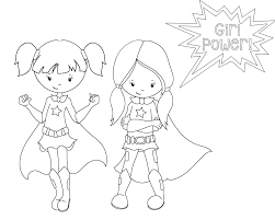 Free Printable Coloring Girl Superhero Pages 51 About Remodel Line Drawings With