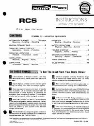 Dresser Roots Blower Distributor by Performance And Dimension Rcs Old Manual 8inch2 Pdf New Belt