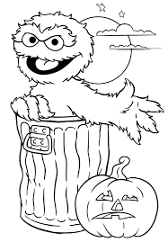 Seasame Street Monster Halloween Print Coloring Pages