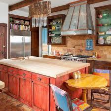 Mexican Tile Backsplash Wood Furniture Rustic Kitchen Decor Country
