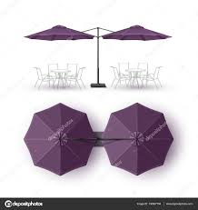 Vector Violet Purple Blank Patio Double Outdoor Beach Cafe Bar Pub Lounge Restaurant Round Umbrella Parasol For Branding Top Side View