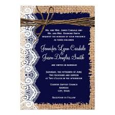 Rustic Country Burlap Lace Twine Wedding Invitations With Dark Navy Blue Background Great For A