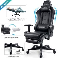 GTRACING Gaming Chair With Footrest Black Office Executive Chair Big And  Tall Heavy Duty Adjustable Recliner With Headrest Lumbar Support Cushion ... Noblechairs Icon Gaming Chair Black Merax Office Pu Leather Racing Executive Swivel Mesh Computer Adjustable Height Rotating Lift Folding Best 2019 Comfortable Chairs For Pc And The For Your Money Big Tall Game Dont Buy Before Reading This By Workwell Pc Selling Chairpc Chaircomputer Product On Alibacom 7 Men Ultra Large Seats Under 200 Ultimate 10 In Rivipedia Top