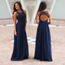 elegant navy blue crochet maxi bridesmaid dress with open back