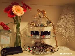 Interior Decor Ideas Cake Stand Repurposed Jewelry Nail Polish And Perfume
