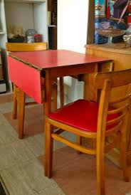 Vintage Retro Red 1950s 60s Formica Drop Leaf Dining Table Chairs Modernist