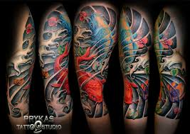 Amazing Colored Asian Tattoo On Sleeve